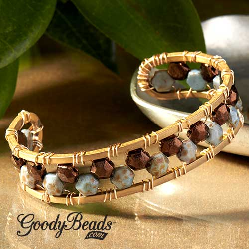 GoodyBead | Blog: Honeycomb Jewel beads wire wrapped on a wire cuff. Free Tutorial.