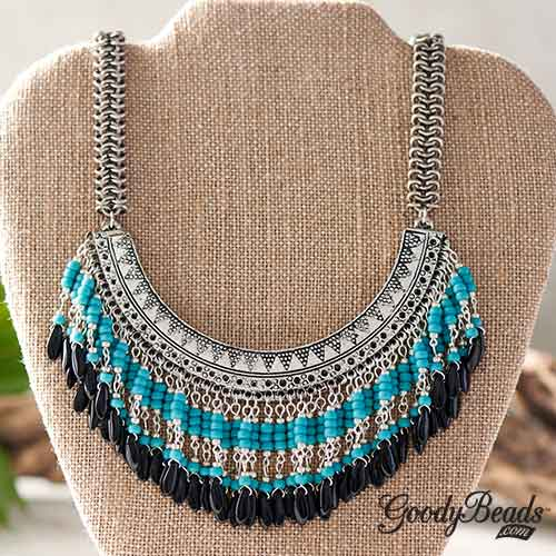GoodyBeads | Blog: Statement Necklace - Turquoise Isle Bib Necklace made with Miyuki Seed Beads, Czech Daggers and bib connectors.