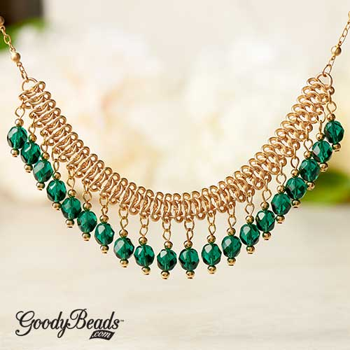 GoodyBeads | Blog: Gold and Czech Fire Polished Emerald on Chain Maille Statement Necklace
