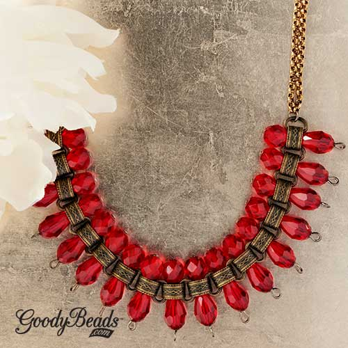GoodyBeads | Blog: Siam Czech glass beads and Chinese crystal makes this brass statement necklace.