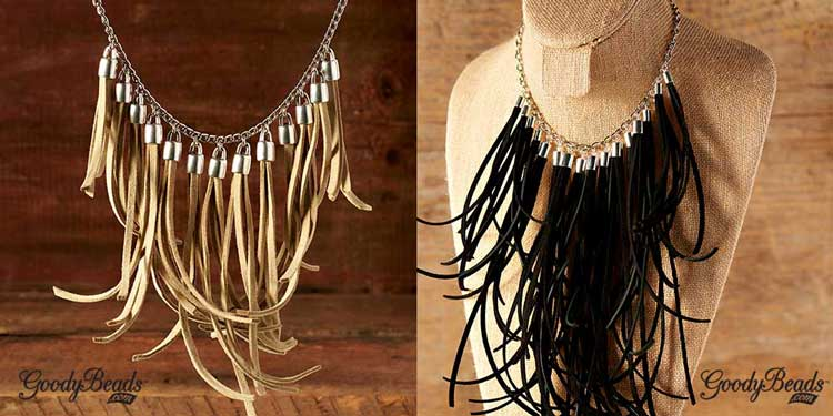 GoodyBeads | Blog: statement necklace with suede tassel, end caps and silver-plated chain.