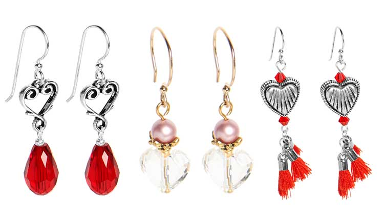 GoodyBeads| 2017 Valentine's Day DIY Earrings Kits with Swarovski Crystals and pearls, red tassels, heart beads and charms.