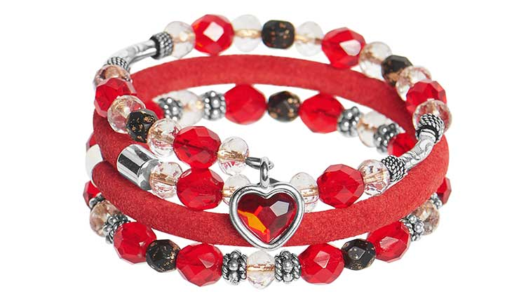 GoodyBeads | Valentine's Day DIY Kits - Wrap bracelet with Czech beads, leather and TierraCast red heart charm.