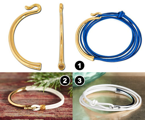 GoodyBeads | Blog: Leather Clasps Examples with round leather cord and curved hook clasp.