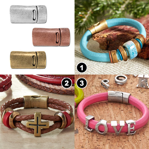 GoodyBeads | Blog: Leather Clasps Examples with Licorice Leather or double 5mm round leather with these magnetic clasps.