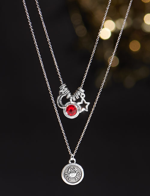 GoodyBeads | Blog: Celestial Zodiac Layer Necklace with Cancer charm and Swarovski bezel charm.