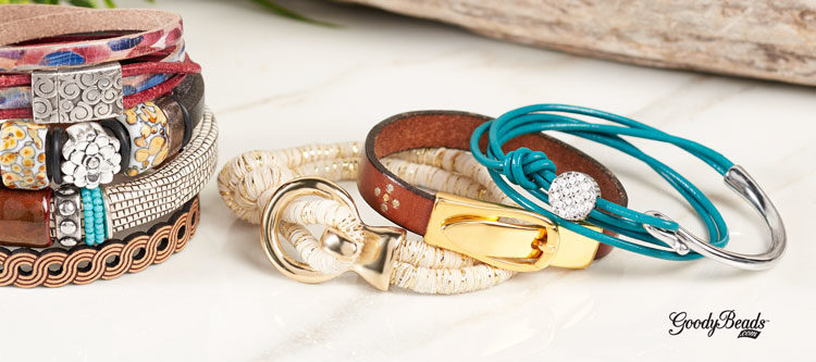 GoodyBeads | Blog: Flat Leather, Licorice Leather, Round Leather Cord with Clasps option and examples.