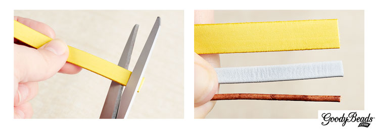 GoodyBeads | Blog: Cut flat leather or small size leather cords with shears.