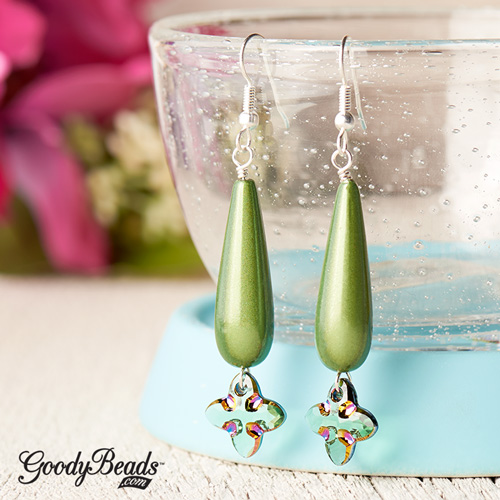 GoodyBeads | Blog: Pantone Color of the Year Greenery - Earrings with Swarovski® Tribal Cross Pendant