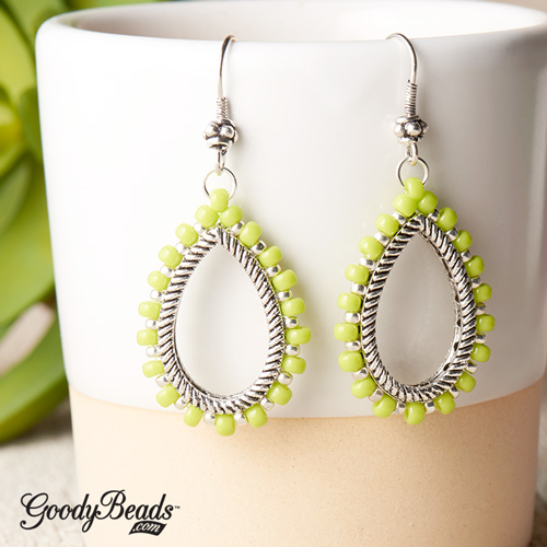 GoodyBeads | Blog: Pantone Color of the Year Greenery - Earrings of sewn seed beads around Groovy bead frame.