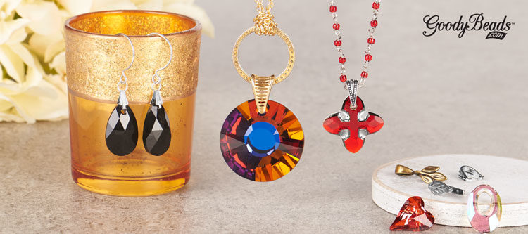 GoodyBeads | Blog: How to Use Pinch Bails with Swarovski crystal pendants