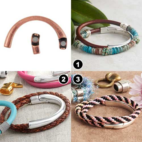 GoodyBeads | Blog: Leather Clasps Examples with round leather and half-circle magnetic clasp.