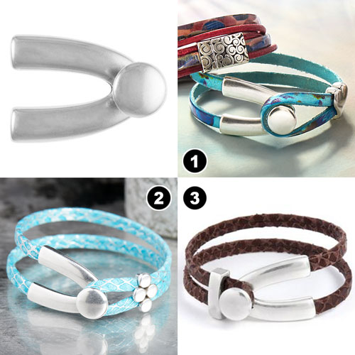 GoodyBeads | Blog: Leather Clasps Examples with 5mm flat leather looped with wishbone disc clasp.