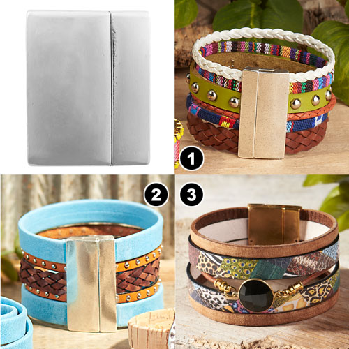 GoodyBeads | Blog: Leather Clasps Examples with mixing up flat leather and round leather with a large wide clasps for statement cuff bracelets.