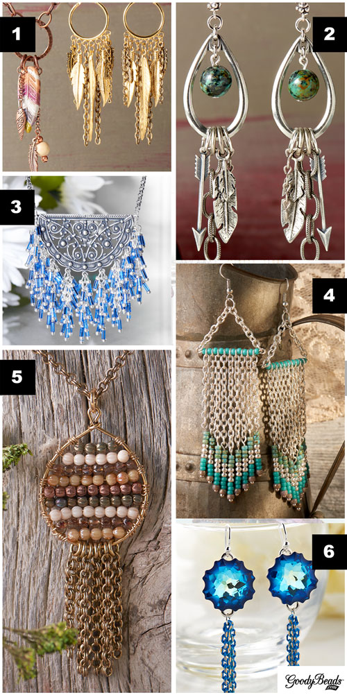 GoodyBeads | Blog: Examples of how to add chain fringe to jewelry.