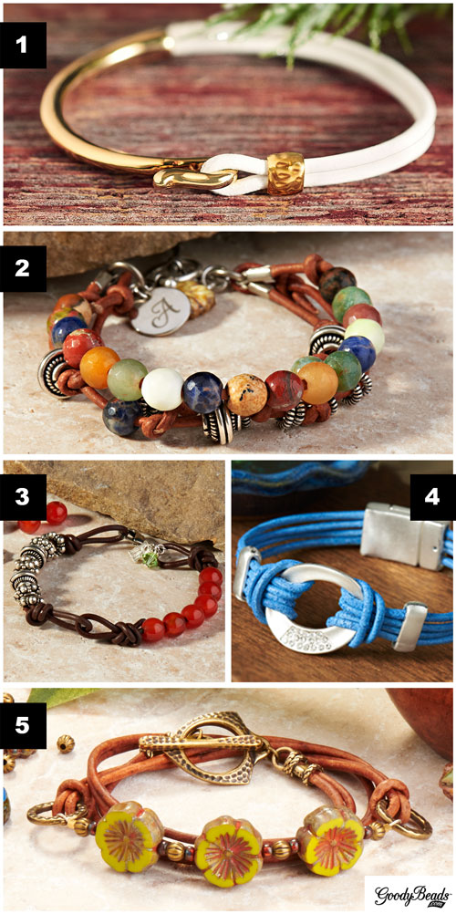 GoodyBeads.com : Blog - bracelet ideas and examples using 1mm -2mm round leather cords.