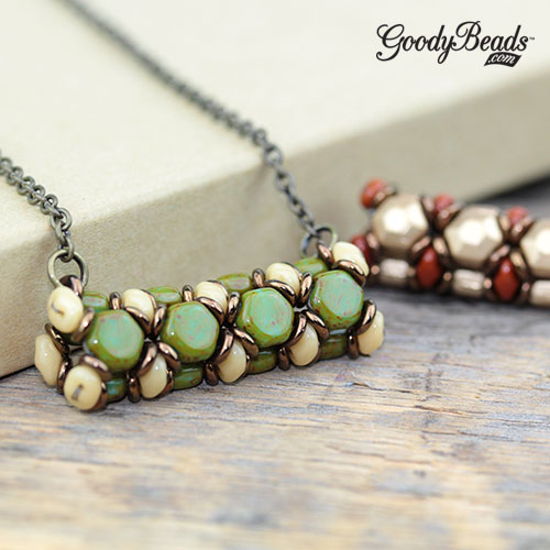GoodyBeads | Blog: Two Hole Beads - Honeycomb Tube Necklace with FREE Tutorial