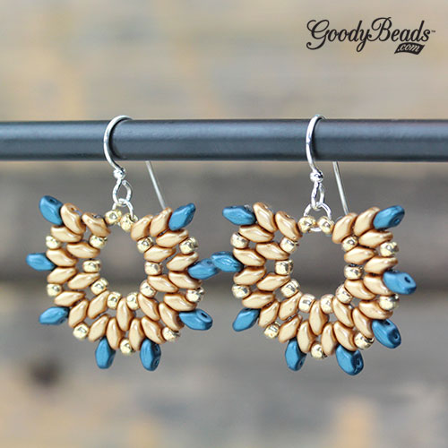 GoodyBeads | Blog: Two Hole Beads - SuperDuo Fan Earrings with FREE Tutorial