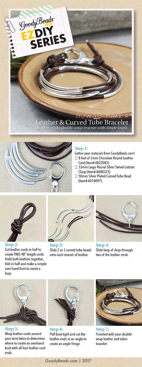 GoodyBeads   Blog: Tutorial on how to make a leather and curved tube bracelet.
