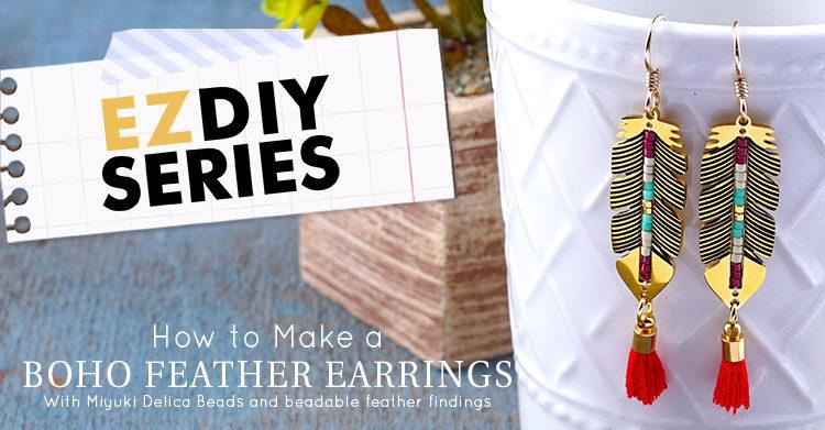 5e8fc850de4089 GoodyBeads EZ DIY Series: Boho Feather Earrings - GoodyBeads Blog