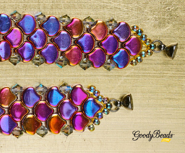 GoodyBeads | Blog - Ginko Scale Bracaelet clasp ends - FREE tutorial