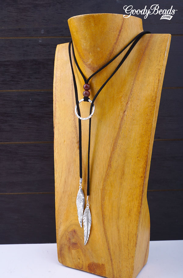 Diy Suede And Gemstone Lariat Necklace