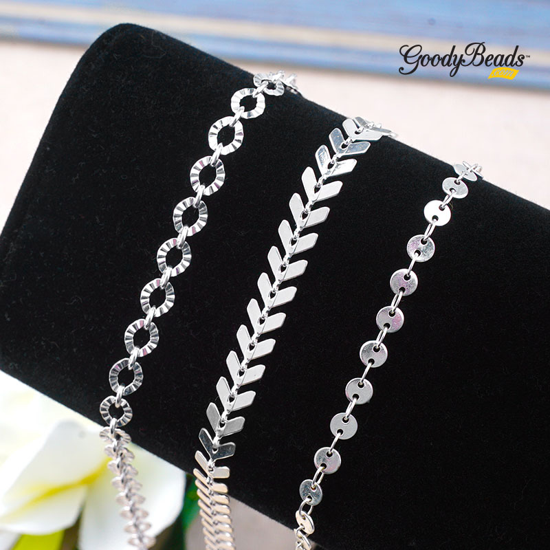 GoodyBeads Blog | FREE Tutorial for DIY chain bracelet with full components list.