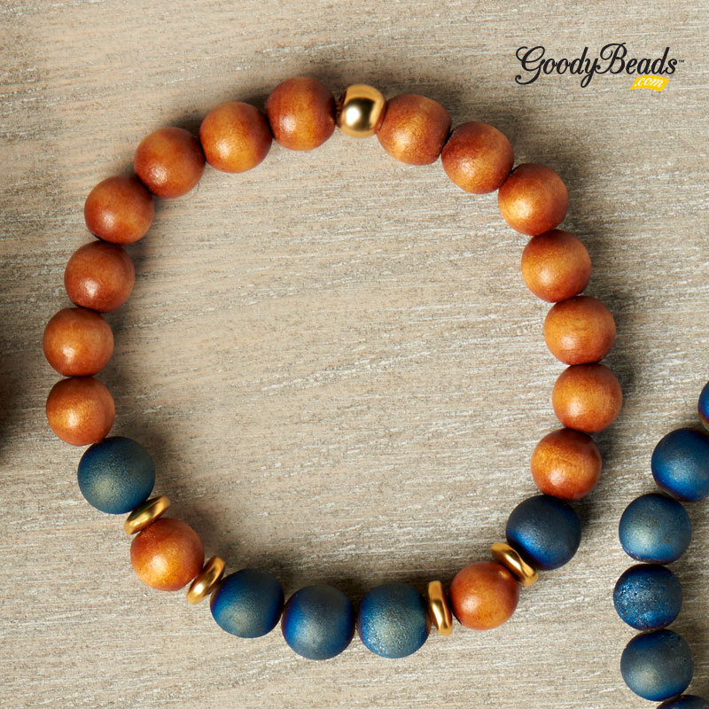 GoodyBeads Blog | FREE Tutorial - DIY Druzy Agate Stretch Bracelet with Dakota Stones Gemstones.