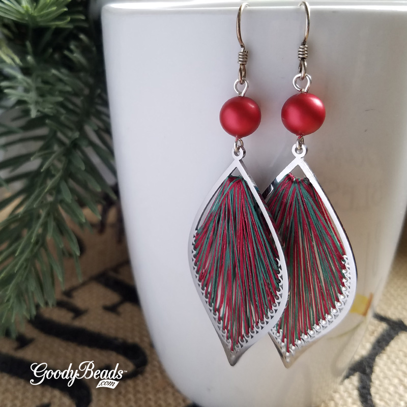 Red and Green Holiday Earrings with Thread & Swarovski Rouge Pearls