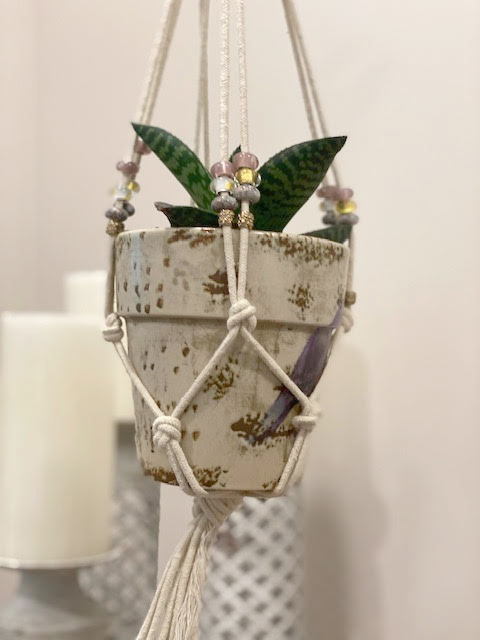 Macrame Planter Hanger with Large-Hole Beads
