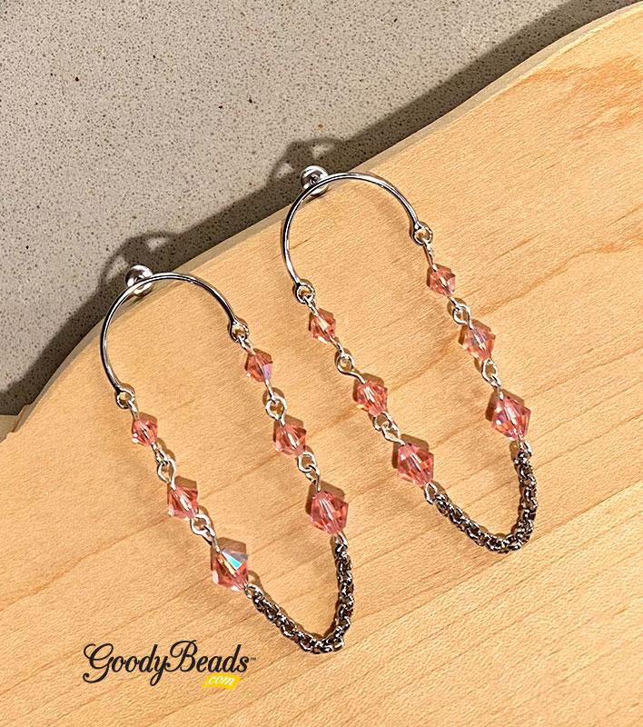 Swarovski Light Rose Shimmer Circle Post Earrings