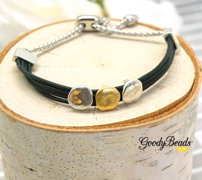GoodyBeads.com Blog | DIY Mixed Moons Leather Bracelet with Adjustable Sliding Clasp FREE Tutorial