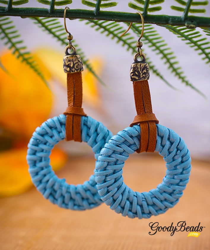 GoodyBeads.com Blog | DIY Blue-Blue Straw Earrings with Deerskin Leather Lace FREE Tutorial