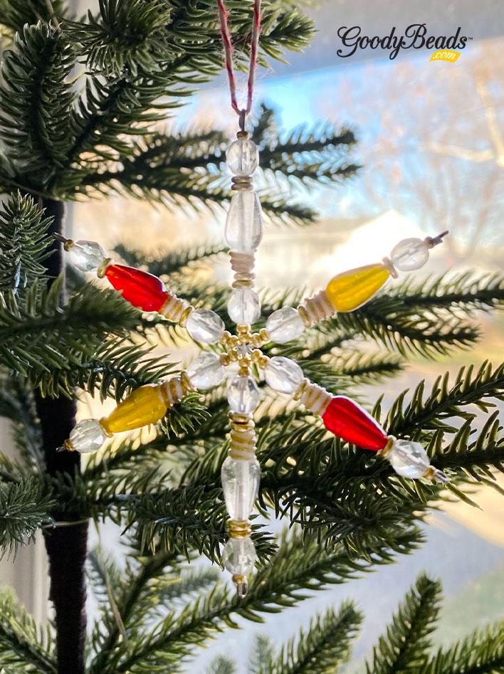 GoodyBeads.comg Blog | DIY Snowflake Ornament with Lightbulb Lampwork Glass Beads FREE tutorial