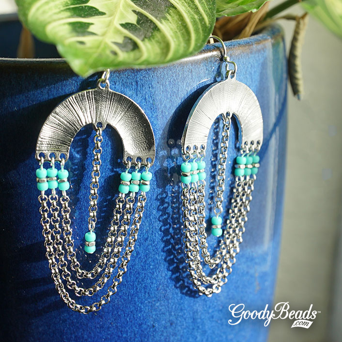 Blue Glass Beaded Bracelet and Earring Set with Silver Metal Bead Highlights and Tassel Chains