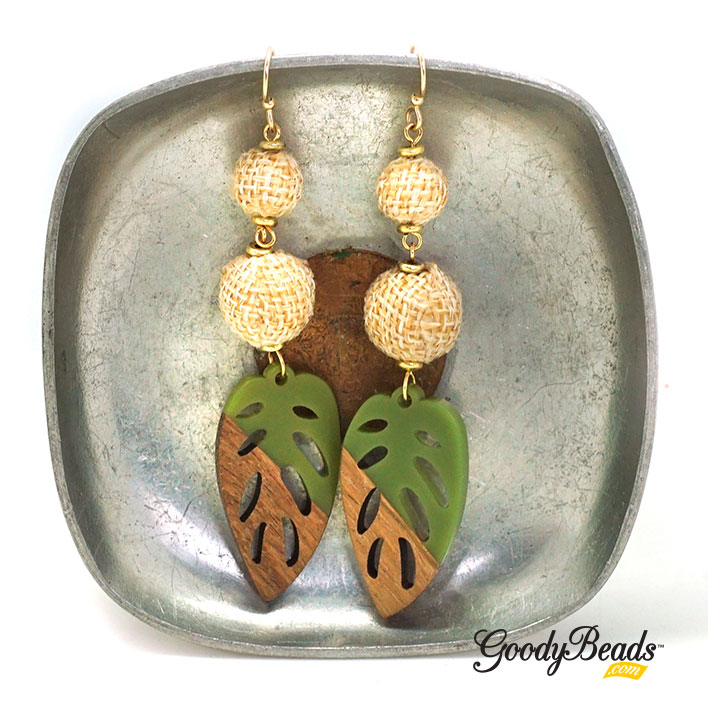 GoodyBeads.com Blog | DIY Tropical Leaf Earrings with Wood & Resin Pendants FREE tutorial.