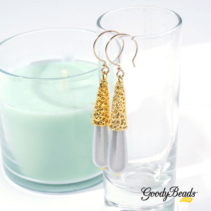 GoodyBeads.com Blog | Design DIY Jewelry with Bali-Style Beads - Golden Circle Earrings with Miracle Teardrop Bead FREE Tutorial
