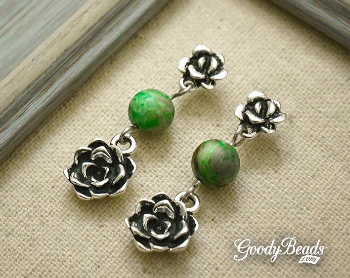 GoodyBeads.com Blog | DIY Succulent Earrings with Crazy Lace Agate Gemstones FREE Tutorial
