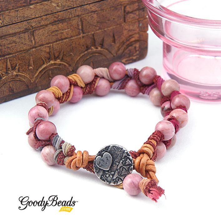 GoodyBeads.com Blog | DIY Gemstone, Ribbon & Leather Bracelet with FREE Video Tutorial